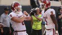 Baker Mayfield gets fired up during coin toss when KU players refuse to shake his hand