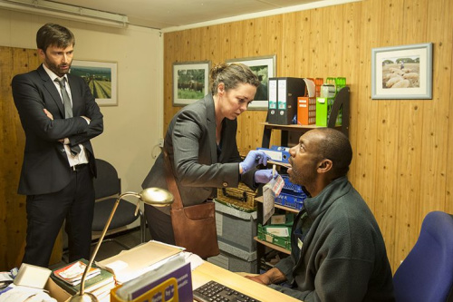 Olivia Colman as Ellie Miller; David Tennant as Alec Hardy and Lenny Henry as Ed Burnett in BBC America's Broadchurch. (Photo Credit: Colin Hutton/BBC America)