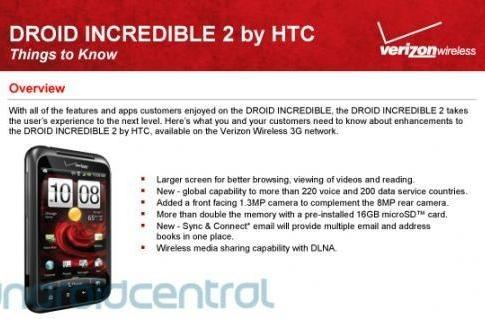 Leaked docs suggest Verizon Droid Incredible 2 will be a world phone