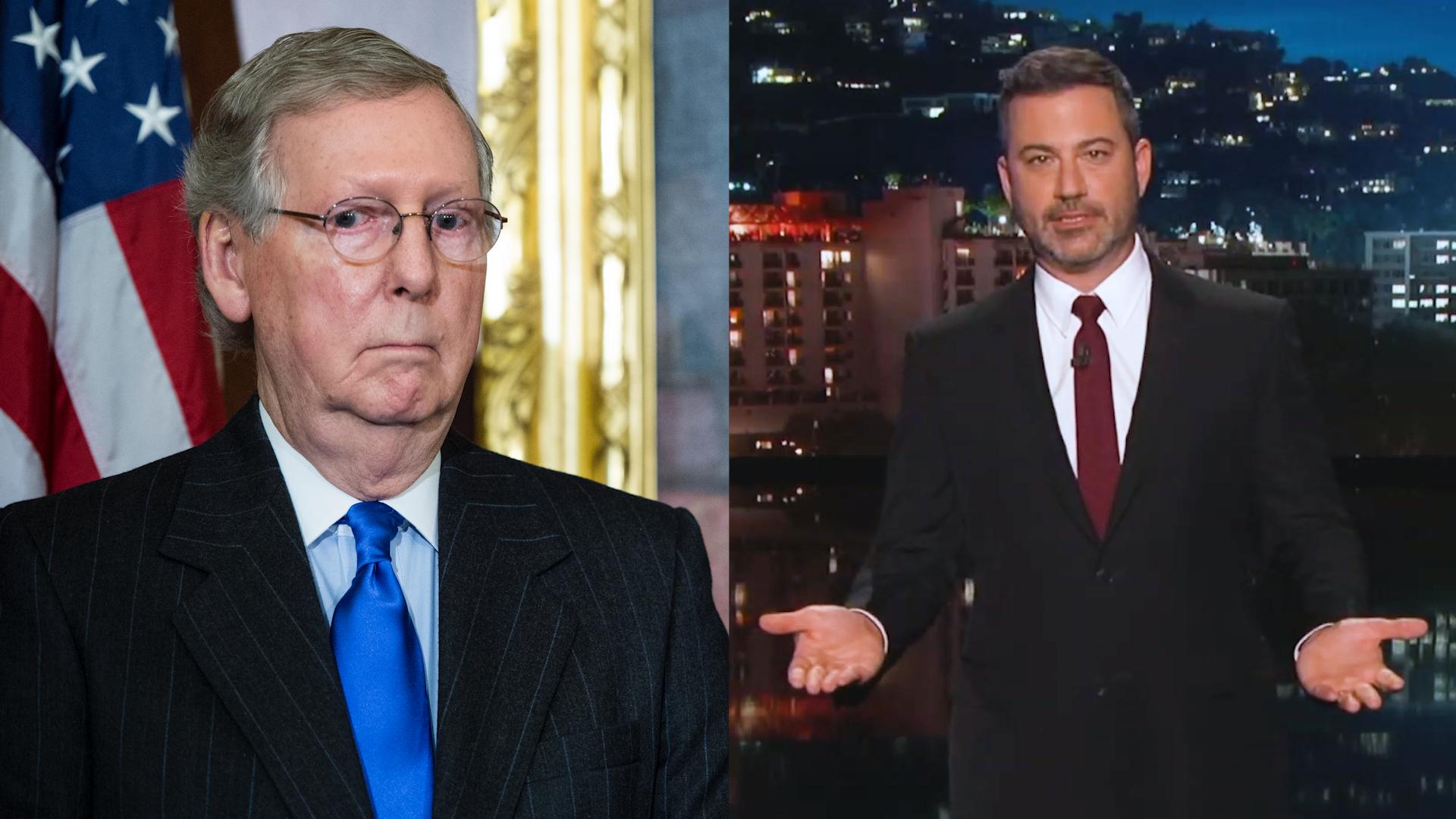 Jimmy Kimmel puts Mitch McConnell on blast for blocking vote on bipartisan  gun bill