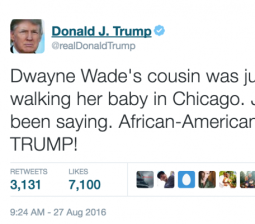 Trump sparks outrage with tweet about Dwyane Wade's cousin's death