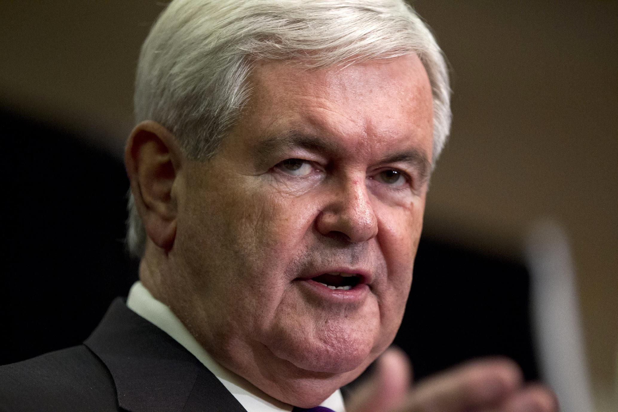 Republican presidential candidate, former House Speaker Newt Gingrich announces that he is suspending his presidential campaign, Wednesday, May 2, 2012, in Arlington, Va. (AP Photo/Evan Vucci)