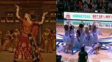 American cheerleaders perform 'Ghoomar' at an NBA game