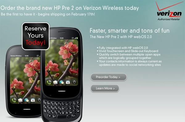 HP Pre 2 available to pre-order for $100 on Verizon, shipping out February 17th