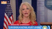 Conway struggles to explain why she said Flynn had Trump's 'full confidence' hours before he resigned