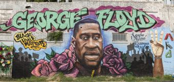 George Floyd mural defaced with racial slur