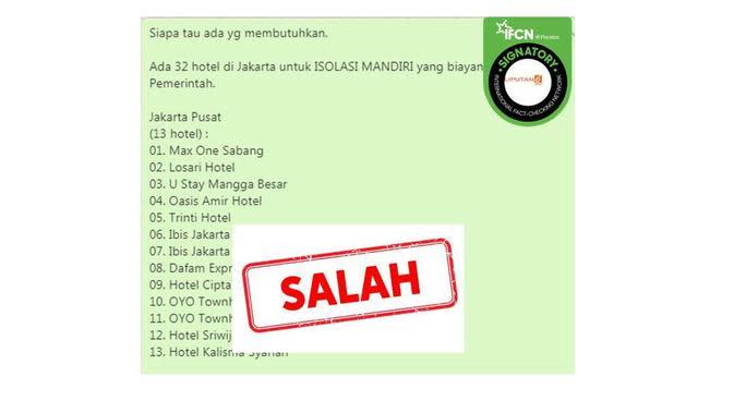 Cek Fakta Tidak Benar Pesan Berantai Berisi Daftar Hotel Untuk Isolasi Mandiri Di Jakarta