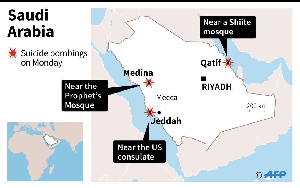 Saudi Arabia was struck by a wave of suicide bombings in Qatif, Medina, and Jeddah (AFP Photo/)
