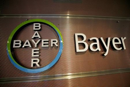 Logo of Bayer AG is pictured at the annual results news conference of the German drugmaker in Leverkusen