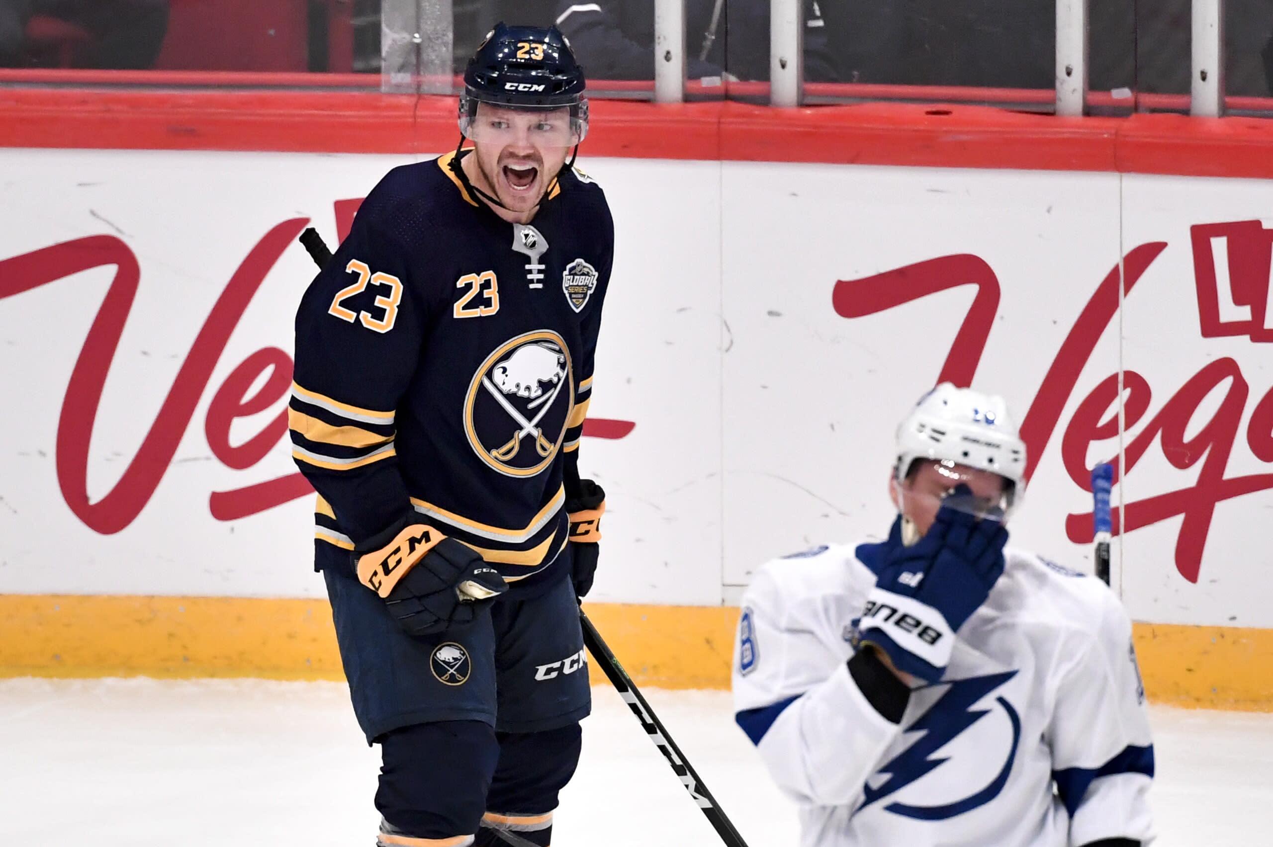 Buffalo Sabres' Sam Reinhart (23) celebrates his goal against the Tampa Bay Lightning during an NHL hockey game in Globen Arena, Stockholm Sweden. Friday. Nov. 8, 2019. (Anders Wiklund/TT via AP)