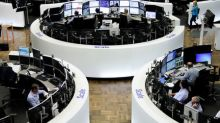 European shares off to sluggish start to week, banks weak