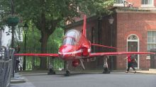 Why is an RAF Red Arrow jet parked on Downing Street?