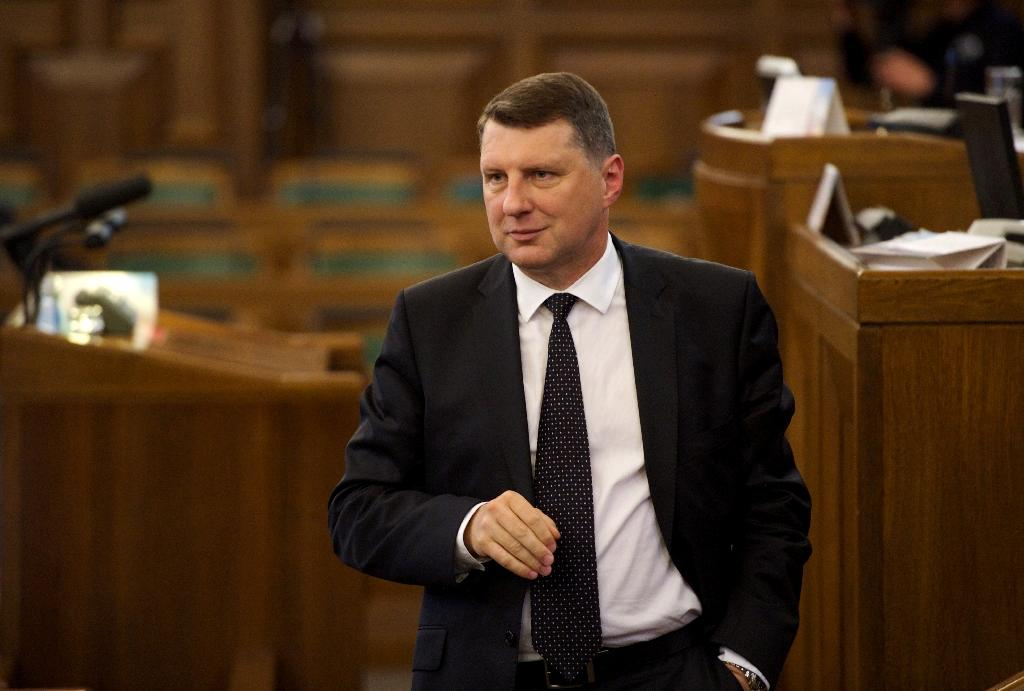 The new Latvian President, former Defence Minister Raimonds Vejonis, reacts after his election at parliament in Riga on June 3, 2015 (AFP Photo/Ilmars Znotins)