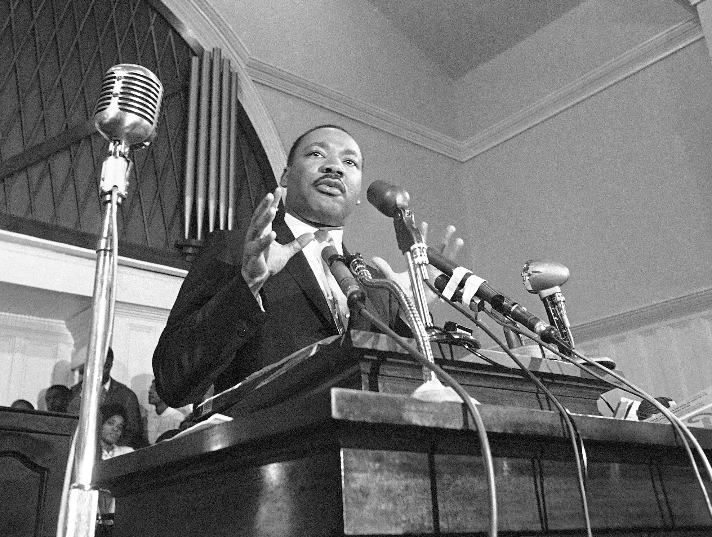 """FILE - In this 1960, file photo, Martin Luther King Jr. speaks in Atlanta. President Donald Trump has visions of establishing by the final months of his second term—should he win one—a """"National Garden of American Heroes"""" that will pay tribute to some of the prominent figures in the nation's history, including Rev. Martin Luther King Jr., that he sees as the """"greatest Americans to ever live."""" The president unveiled his plan Friday, July 3, 2020, during his speech at Mount Rushmore National Memorial, S.D. (AP Photo, File)"""