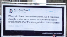 Pro-Remain group posts giant billboards featuring quotes from prominent Brexit MPs around Dover