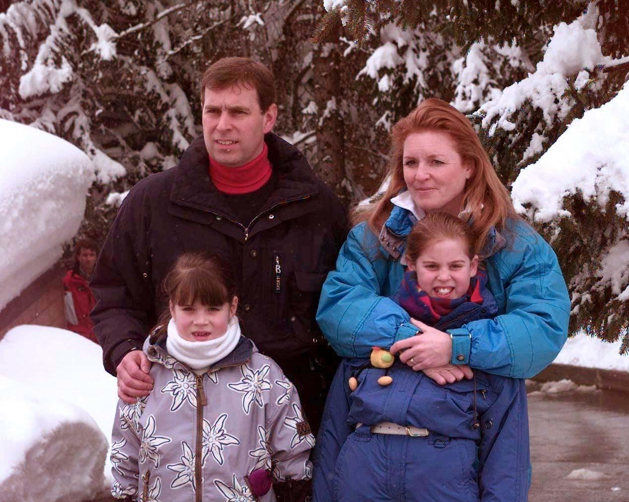 The Duke and Duchess of York (who are divorced) with their children Beatrice (r) and Eugenie, during a photocall in Verbier. The Duke, who celebrates his 39th birthday today, is on a sking holiday with his family.