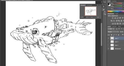 Laika Believes in this cyber whale speed-drawing video