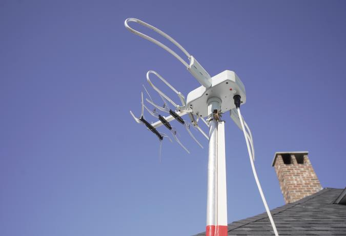 OLD ORCHARD BEACH, ME - MARCH 5: The over-the-air TV antenna that Pat Brown installed at her Old Orchard Beach home, photographed on Thusday, March 5, 2020. Brown hooked up the antenna herself and has helped older residents in Old Orchard Beach set them up. (Staff Photo by Gregory Rec/Portland Press Herald via Getty Images)