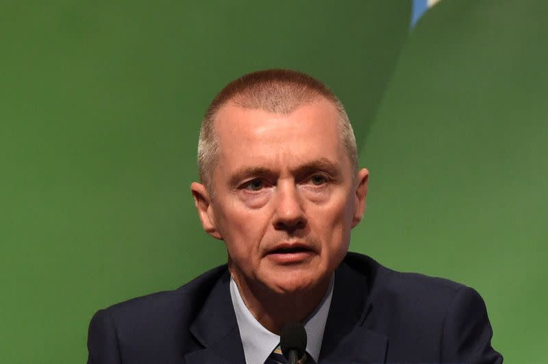 FILE PHOTO: Willie Walsh, CEO of International Airlines Group speaks during the closing press briefing at the 2016 International Air Transport Association (IATA) Annual General Meeting (AGM) and World Air Transport Summit in Dublin