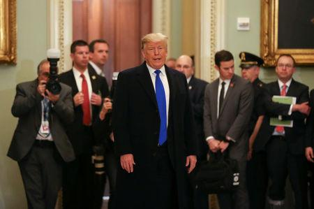 FILE PHOTO - U.S. President Trump departs a closed Senate Republican policy lunch on Capitol Hill in Washington