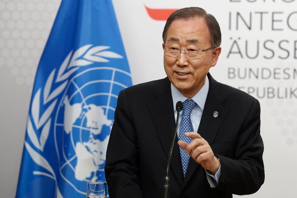 UN Secretary General Ban Ki-Moon addresses a press conference on April 26, 2016 in Vienna, Austria (AFP Photo/Dieter Nagl)