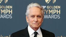 Michael Douglas meets his month-old grandson for the first time