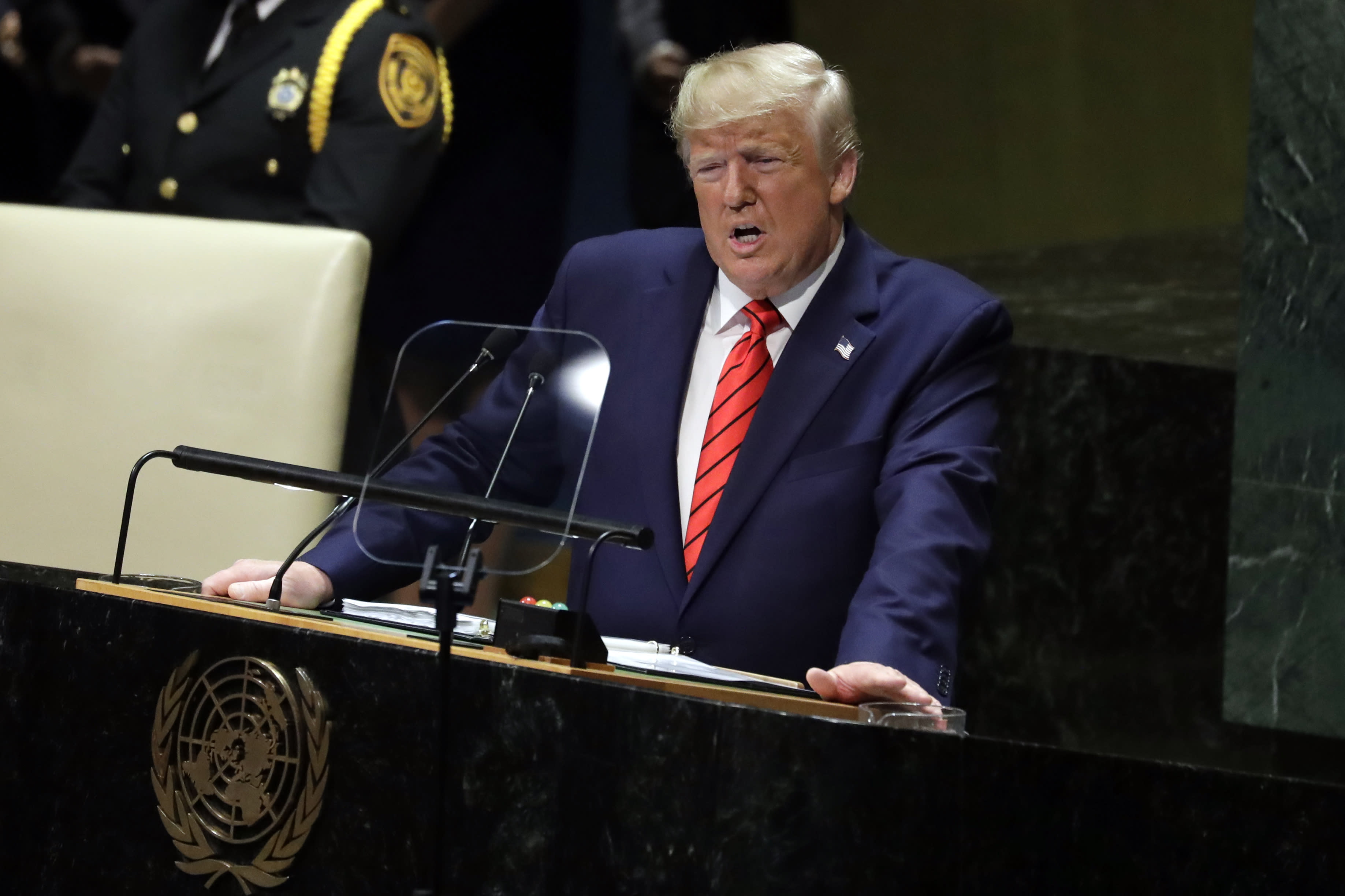 President Donald Trump delivers remarks to the 74th session of the United Nations General Assembly, Tuesday, Sept. 24, 2019, in New York. (AP Photo/Evan Vucci)