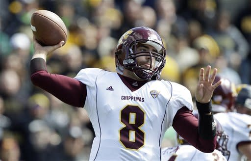 Central Michigan quarterback Ryan Radcliff throws a pass during the first half of an NCAA college football game against Iowa, Saturday, Sept. 22, 2012, in Iowa City, Iowa. (AP Photo/Charlie Neibergall)