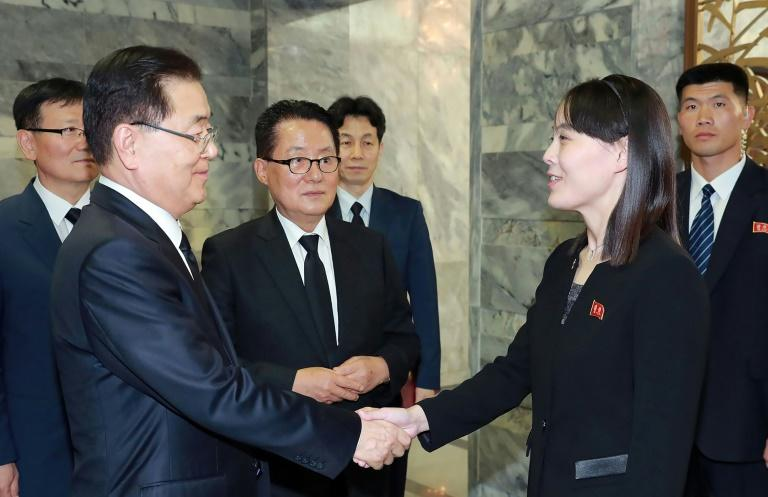 Park Jie-won (centre) watches as Kim Yo Jong, the younger sister of North Korean leader Kim Jong Un, shakes hands with South Korea's director of the National Security Office, Chung Eui-yong (AFP Photo/-)