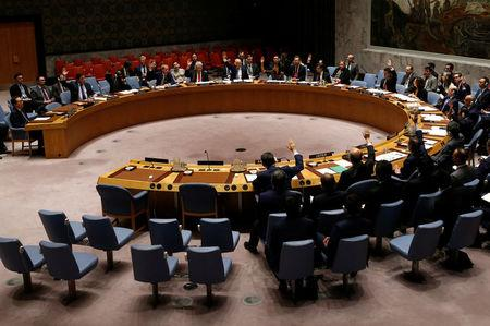 The United Nations Security Council vote on a resolution to expand its North Korea blacklist after the Asian state's repeated missile tests, at the U.N. headquarters in New York, U.S., June 2, 2017. REUTERS/Mike Segar