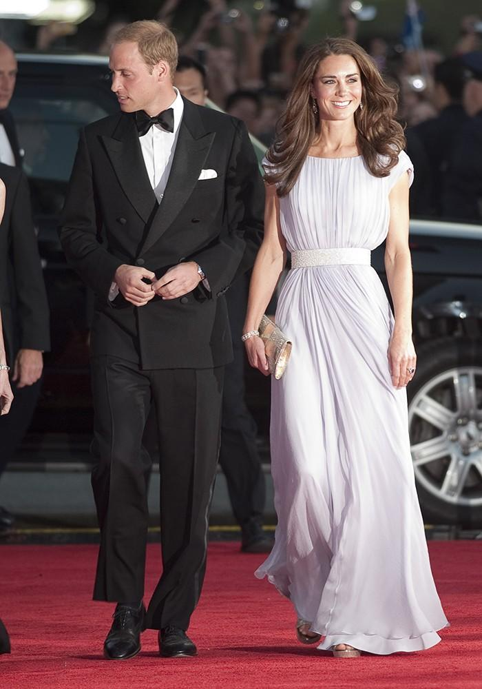 Kate and Wills attended the BAFTA Awards, Kate showing off a tiny waist in this Sarah Burton for Alexander McQueen floor length gown.