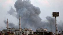 Air strikes pound insurgent enclave close to Damascus