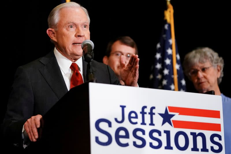 FILE PHOTO: Former U.S. Attorney General Jeff Sessions and Republican senate candidate speaks in Mobile