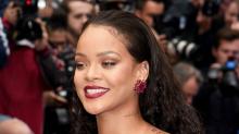 Rihanna rocks bright blue hair in Barbados