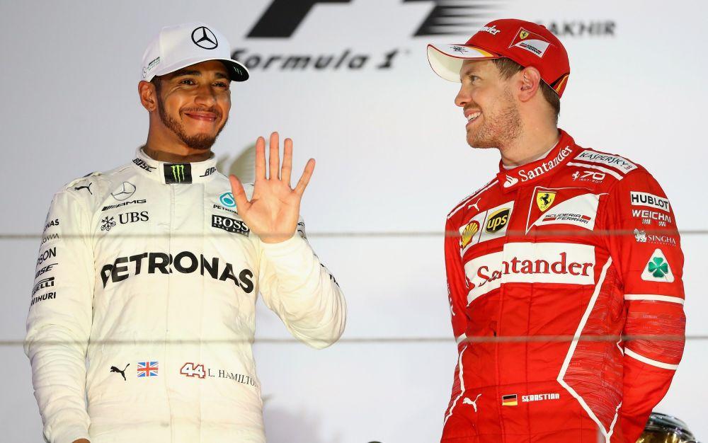 Lewis Hamilton and Sebastian Vettel at the Bahrain GP - Getty Images Europe