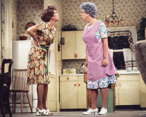 Carol Burnett as Eunice Higgins, left, and Vicki Lawrence as Mama Harper in Mama's Family. (Photo: CBS Photo Archive)