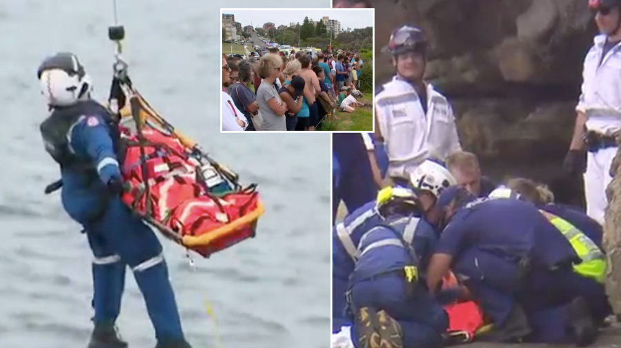 Rescue of teen who fell off cliff at Sydney beach