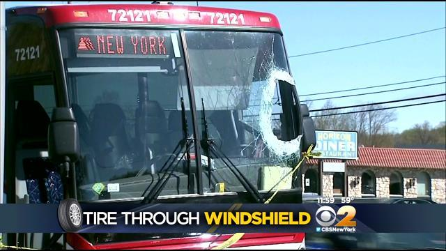 Tire Crashes Through Windshield Of Commuter Bus In New Jersey