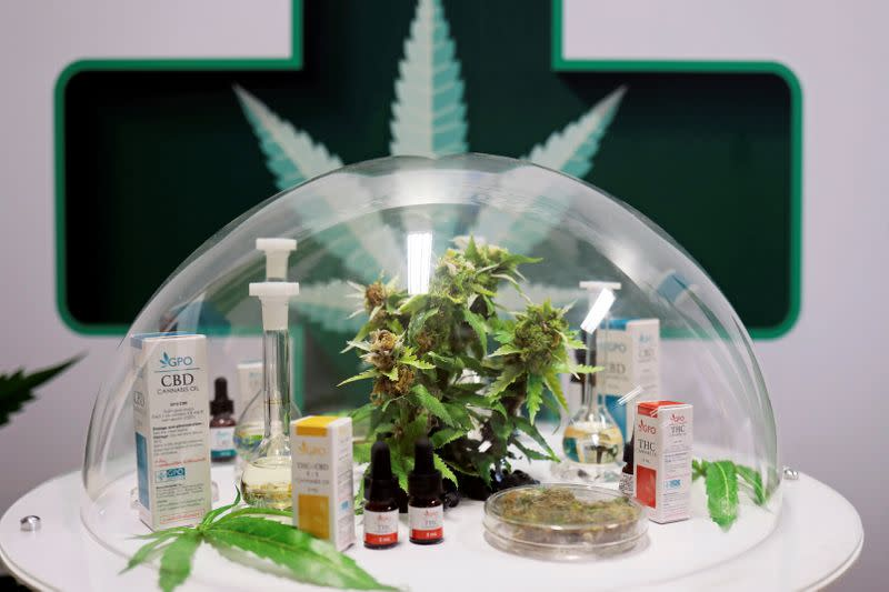 FILE PHOTO: Cannabis oil products made in Thailand are seen on display during the launch of the first official medical cannabis clinic in Bangkok