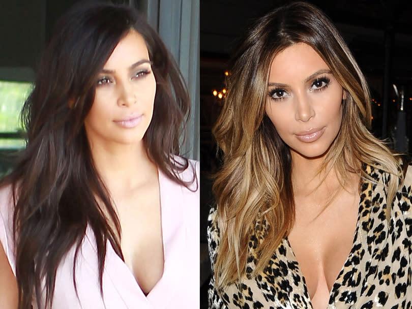 Kim kardashian ind cise troque encore sa chevelure brune pour un blond lumineux - Passer de blonde a brune ...