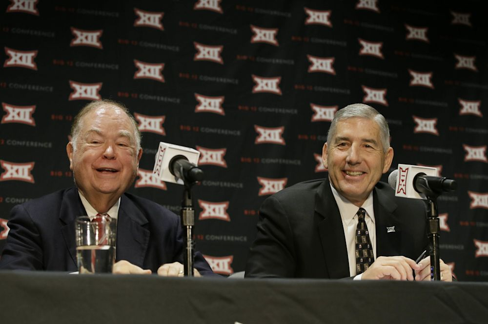 Oklahoma president David Boren and Big 12 commissioner Bob Bowlsby on Monday. (Getty)