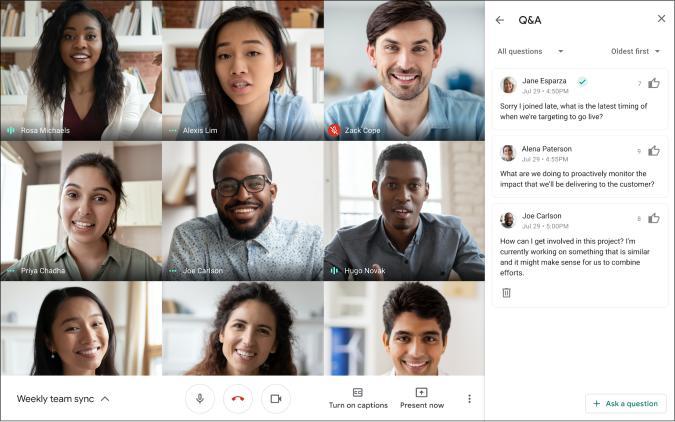 A screenshot of Google Meet's upcoming Q&A feature.
