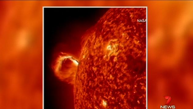 Solar eruption caught on video