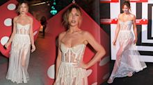 Abbey Clancy wears semi-sheer bustier gown four months after giving birth