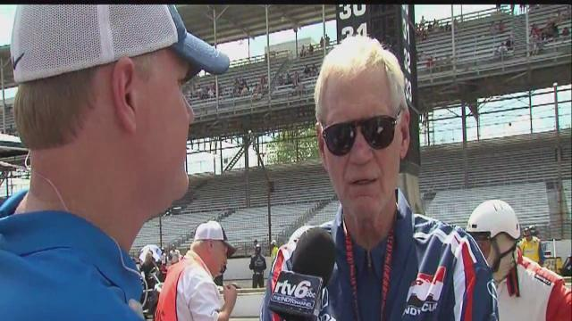 Dave Furst talks to Letterman at the Indy GP