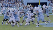 North Carolina QB throws two-handed pick-six to seal game for Duke