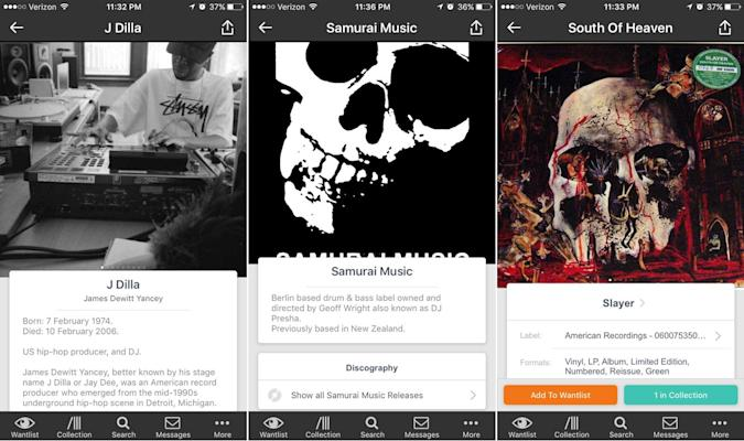 Discogs' vinyl app offers more info on artists, labels and releases