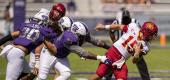 Iowa State quarterback Brock Purdy (15) spins away from TCU defensive tackle Corey Bethley (94). (AP)