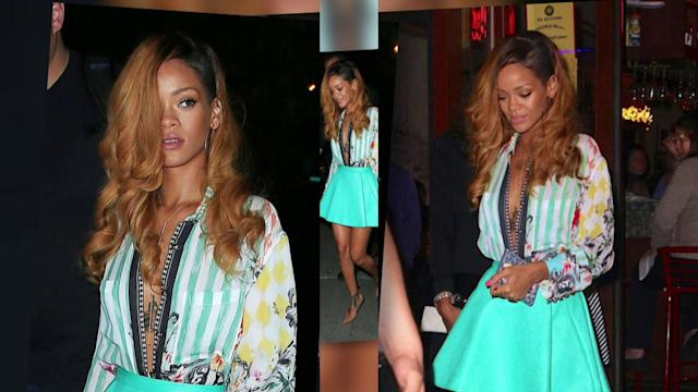 Newly-Single Rihanna Goes Braless in a Low Cut Unbuttoned Shirt