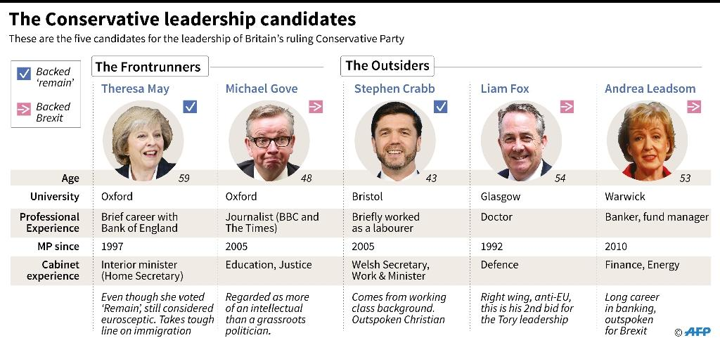 The Conservative leadership candidates (AFP Photo/Jonathan Jacobsen)
